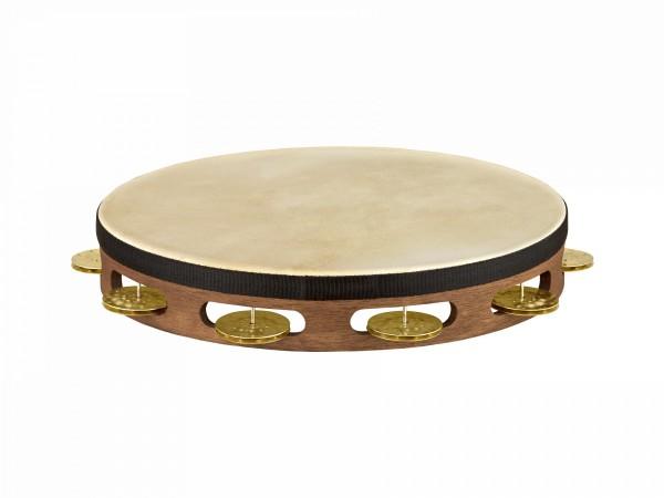MEINL Percussion Vintage Goat Skin Wood Tambourine - walnut brown, 1 row (TAH1V-WB)