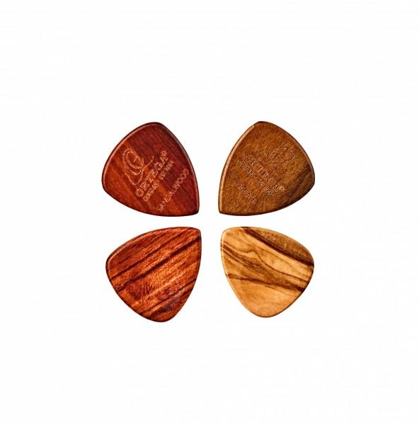 ORTEGA wood picks assortment - 4pc pack / olive / padouk / sandel / chacate (OGPW-MIX4)