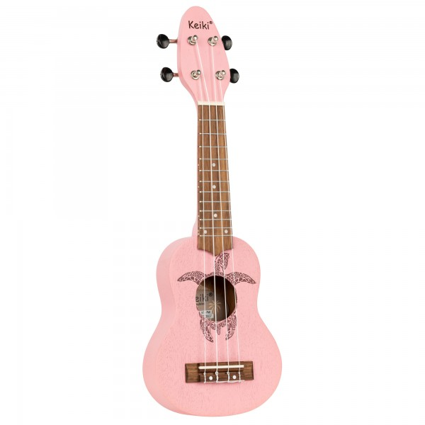 KEIKI Ukulele 4 String - Sopranino Tortiose/Turtle Lasering/ KEIKI Headstock/A D F# B/ Pink (K1-PNK)