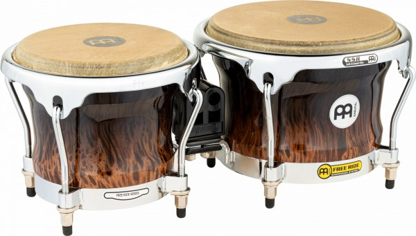 "MEINL Percussion Free Ride Wood Bongo - Brown Burl 7"" MACHO & 8 1/2"" HEMBRA (FWB400BB)"