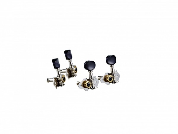 ORTEGA Ukulele set open gear, black ABS button - Nickel (OTMUKOG-CR)