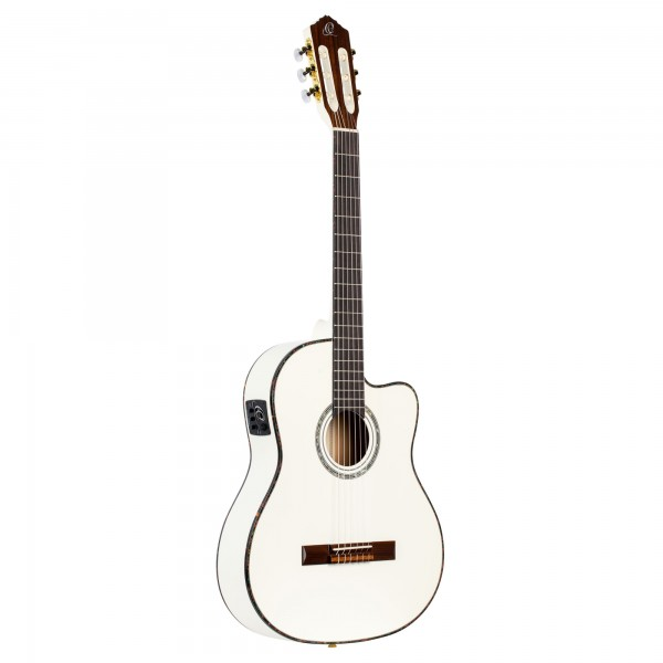 ORTEGA Classical Guitar Family Series Pro 4/4 inclusive Gigbag and Strap Thinline Body Slim Neck - WH - White (RCE145WH)