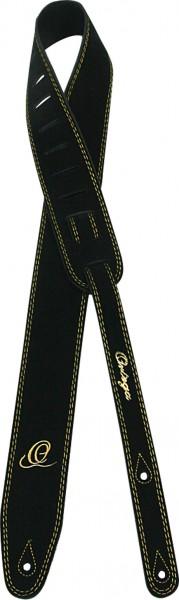 "ORTEGA Guitarstrap Suede Leather Length 1420 mm (55,9""), Width 65 mm (2,56"") with Ortega O-Logo - Black (OSS2-BK)"