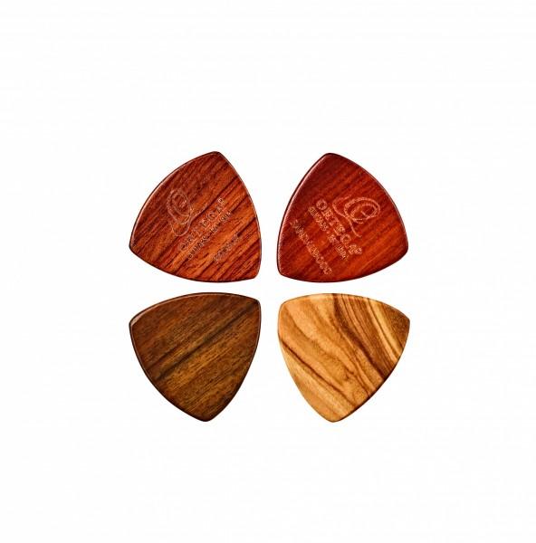 ORTEGA wood picks assortment - 4pc pack / olive / padouk / sandel / chacate XL (OGPWXLF-MIX4)