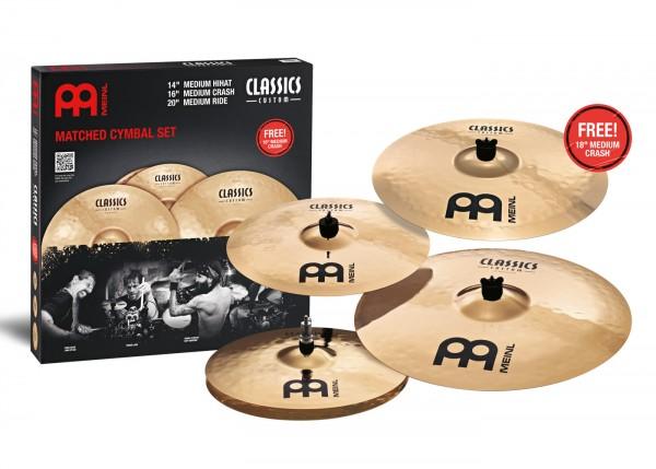 "MEINL Cymbals Classics Custom Cymbal Set - 14"" Medium Hihat, 16"" Medium Crash, 20"" Medium Ride incl. FREE 18"" Medium Crash (CC-141620+18)"