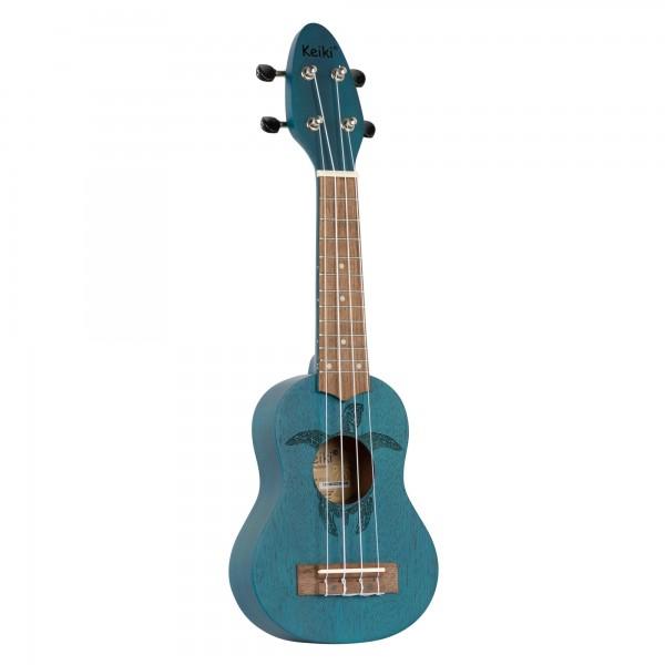 KEIKI Ukulele 4 String - Sopranino Tortiose/Turtle Lasering/ KEIKI Headstock/A D F# B/ Ocean Blue (K1-BL)