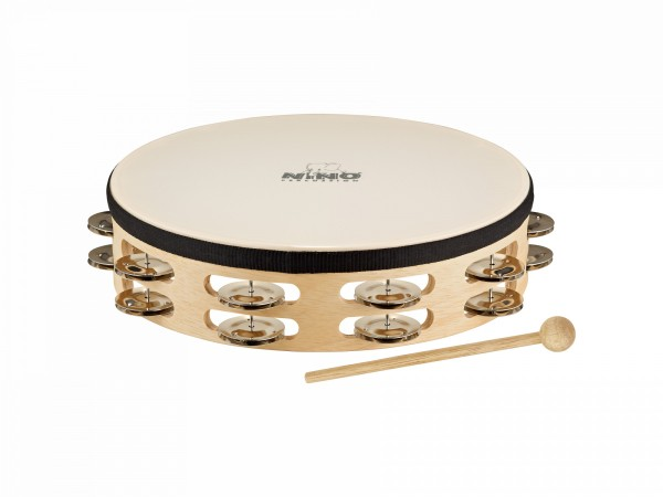 "NINO Percussion Headed Wood Tambourine - 10"", 2 rows (NINO26)"