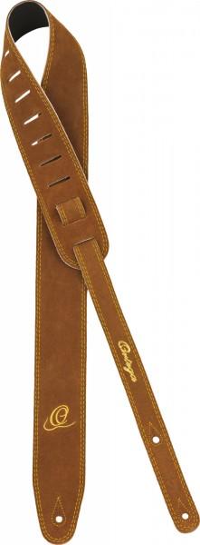 "ORTEGA Guitarstrap Suede Leather Length 1420 mm (55,9""), Width 65 mm (2,56"") with Ortega O-Logo - Brown (OSS2-BR)"