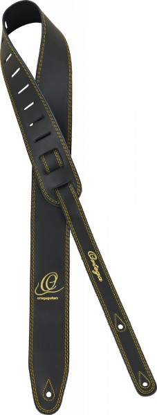 "ORTEGA Guitarstrap Smooth Leather Length 1420 mm (55,9""), Width 85mm (3,35"") - Black (OSL2-85BK)"