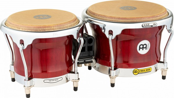 "MEINL Percussion Free Ride Wood Bongo - Cherry Red 7"" MACHO & 8 1/2"" HEMBRA (FWB400CR)"