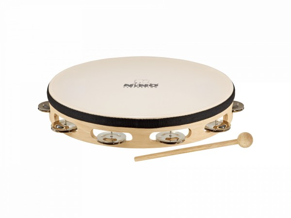 "NINO Percussion Headed Wood Tambourine - 10"", 1 row (NINO25)"
