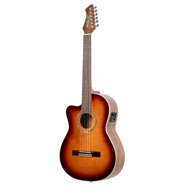 ORTEGA Perfomer Series Classical Guitar 4/4 Slim Neck Thinline Body Lefty - Spruce + Preamp + Bag (RCE238SN-FT-L)