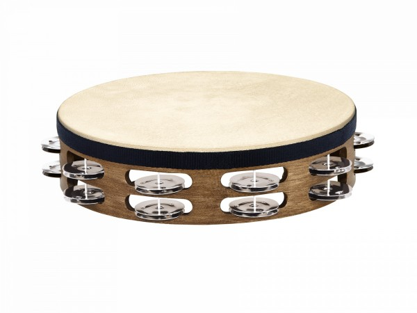 MEINL Percussion Traditional Headed Wood Tambourine - 2 rows, walnut brown (TAH2WB)