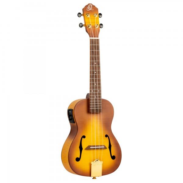 ORTEGA Custom Build Series Concert Ukulele + DeLuxe Gigbag - flamed maple top an back & sides / arched top & bottom / violin soundholes (RUSL-HSB)