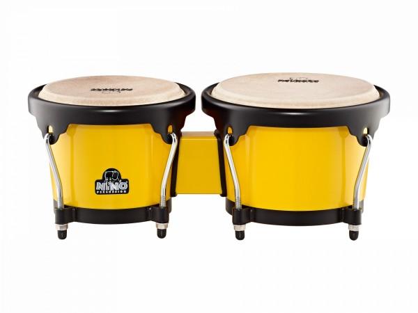 NINO Percussion Bongo ABS Plastic Plus - Yellow/Black (NINO17Y-BK)