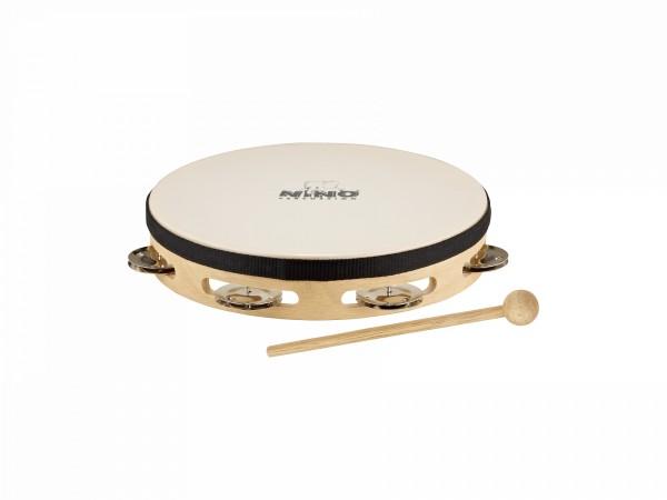 "NINO Percussion Headed Wood Tambourine - 8"", 1 row (NINO47)"