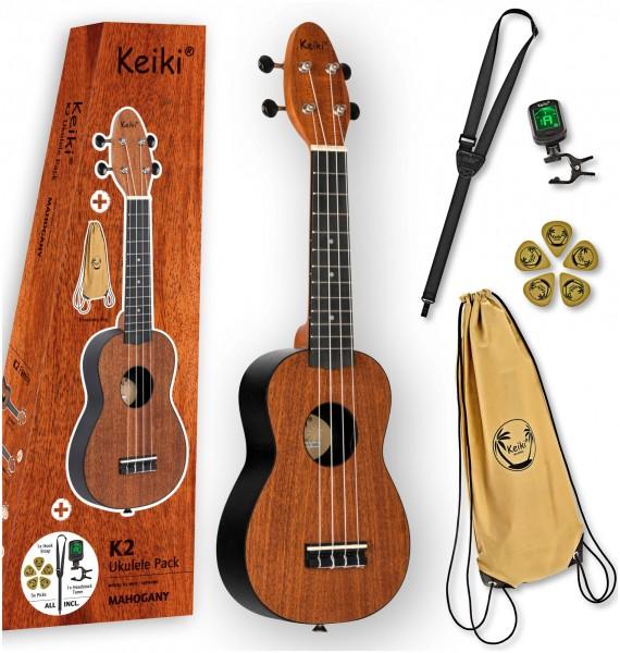 "KEIKI K2 Series Ukulele Set 4 String ""Mahogany"" - incl. Gymbag/H-Tuner/5 Picks/Strap (K2-MAH)"