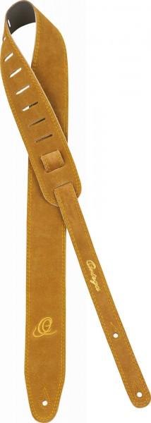 "ORTEGA Guitarstrap Suede Leather Length 1420 mm (55,9""), Width 65 mm (2,56"") with Ortega O-Logo - Honey (OSS2-HO)"