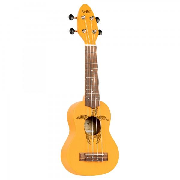 KEIKI Ukulele 4 String - Sopranino Tortiose/Turtle Lasering/ KEIKI Headstock/A D F# B/ Orange (K1-ORG)