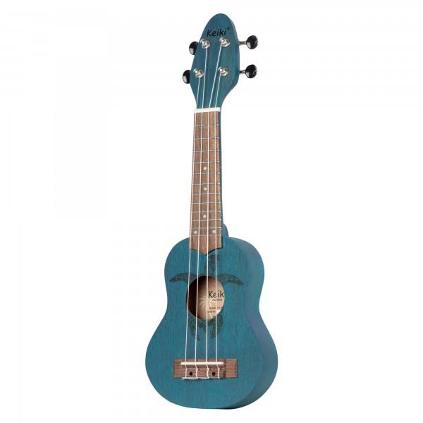 KEIKI Ukulele 4 String Lefty - Sopranino Tortiose/Turtle Lasering/ KEIKI Headstock/A D F# B/ Ocean Blue (K1-BL-L)