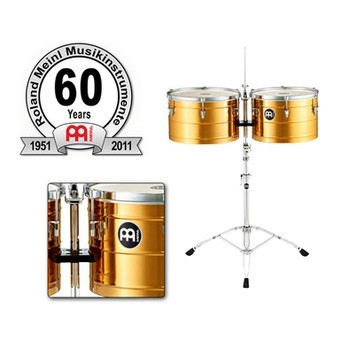"""MEINL Percussion 60th Anniversary - Timbales Set 15+16"""", with Stand (60-BT1516)"""