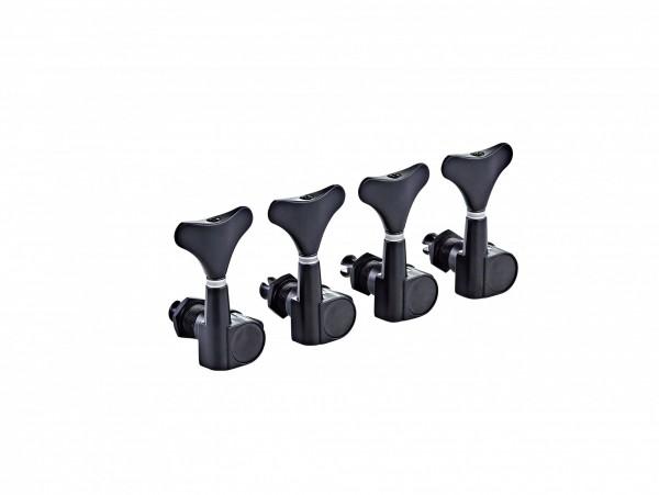 ORTEGA Electric/acoustic bass tuning machines, standard, 4 string Die-Cast, 4 in line - Black (OTMEB4L-GB)